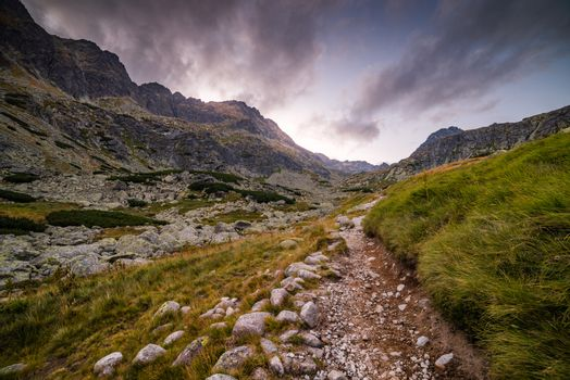 Hiking Trail in the Mountains at Sunset
