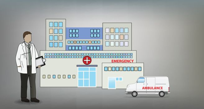 Medical Doctor in Front of Hospital Concept