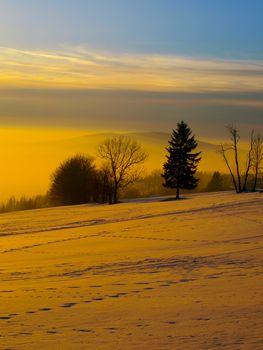 Sunset in wintertime