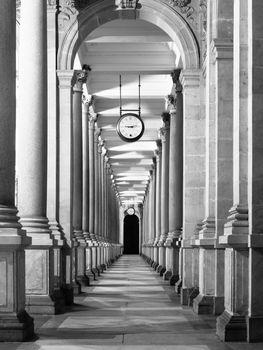Long colonnade corridor perspective