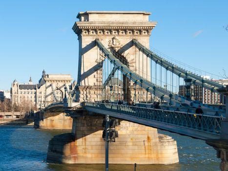 Szechenyi Chain Bridge over Danube River in Budapest, Hungary