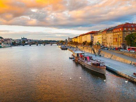 Rasin Embankment at Vltava River in Prague