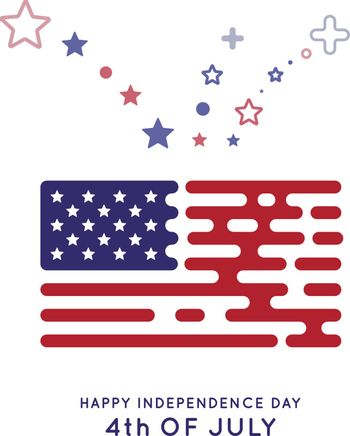 The US flag in the style of rounded lines. Hipster design. Vector illustration