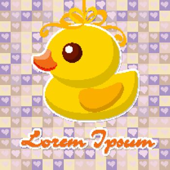 yellow Toy duck for a bath on a pretty background with hearts. Vector illustration