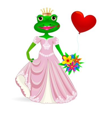 Cartoon princess frog with heart and flowers in their hands.