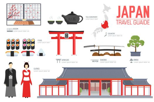 Country Japan travel vacation guide of goods, places and features. Set of architecture, fashion, people, items, nature background concept.  Infographic template design for web and mobile on flat style