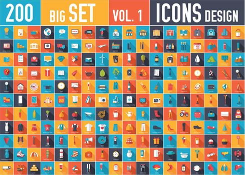 Vol. 2 Flat big collection set icons . For infographic design.