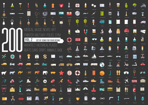 Flat big collection set icons . For infographic illustration design.
