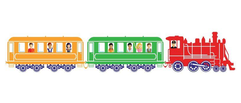 Toy train with children
