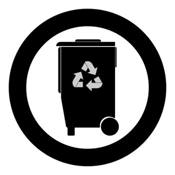 Refuse bin with arrows utilization the black color icon in circle or round