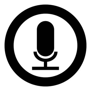 Microphone the black color icon in circle or round vector illustration