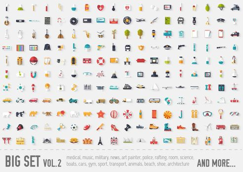 Flat big collection set icons of medical, army, war, shoe, nature, news, draw, police etc For infographic illustration