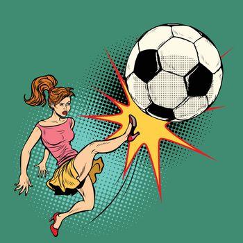 A woman hits a soccer ball, football championship. Pop art retro vector illustration comic cartoon kitsch drawing