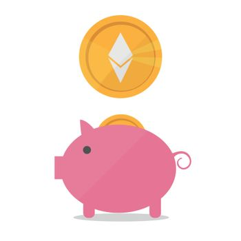 Earnings Ethereum icon in trendy flat style isolated on white background