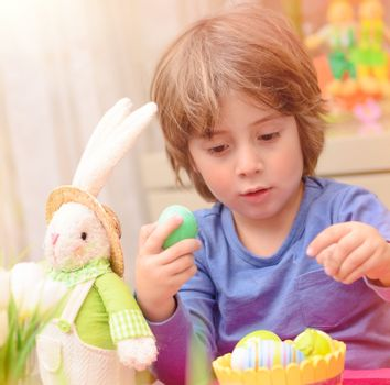 Cute boy enjoy Easter holiday