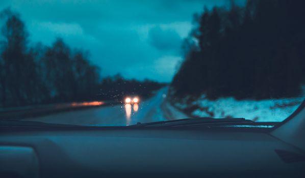 Night road trip in the car