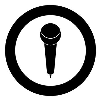 Microphone icon black color in circle or round vector illustration
