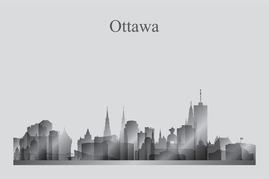 Ottawa city skyline silhouette in grayscale