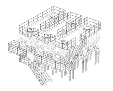 Industrial equipment. Detailed illustration on white background. 3d illustration