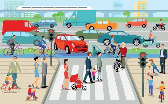 City with pedestrian crossing and road traffic, illustration