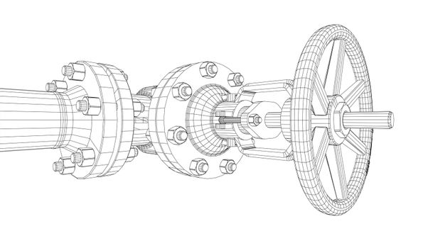 Industrial valve. Detailed 3d illustration on white background. Wire-frame style