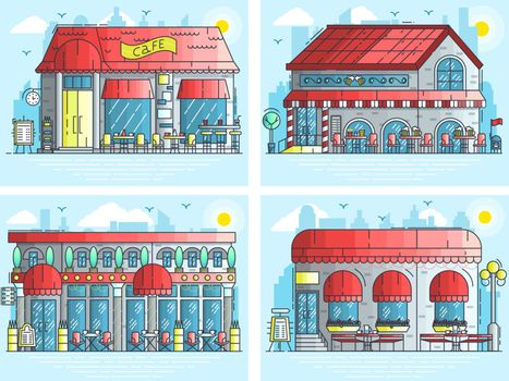 Set of exteriors of little cute cafe buildings on the street. Layout modern vector background illustration design concept