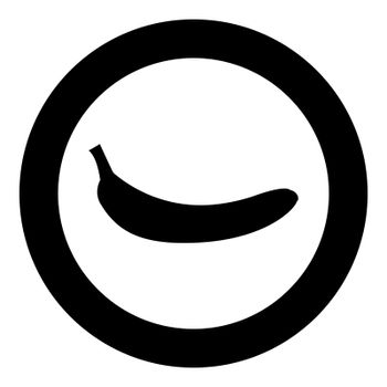 Banana black icon in circle vector illustration isolated .