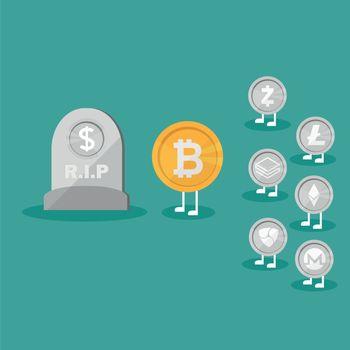 Dollar Coins Icon Tombstone Flat. Real money vs Bitcoin virtual money - Crypto