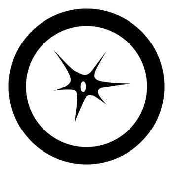 Nerve cell icon black color in circle