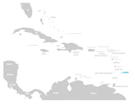 Barbados blue marked in the map of Caribbean. Vector illustration