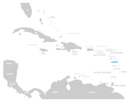 Dominica blue marked in the map of Caribbean. Vector illustration