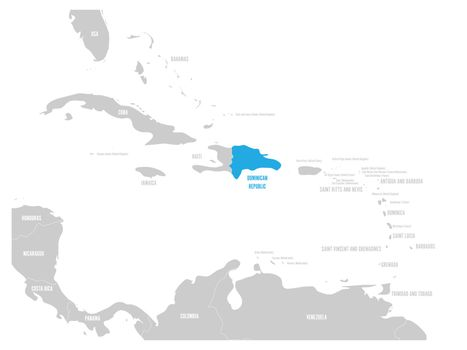 Dominican Republic blue marked in the map of Caribbean. Vector illustration