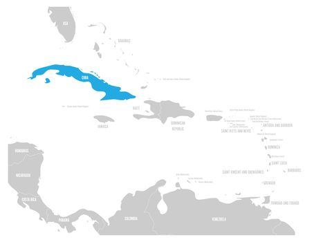 Cuba blue marked in the map of Caribbean. Vector illustration