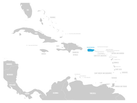 Puerto Rico blue marked in the map of Caribbean. Vector illustration