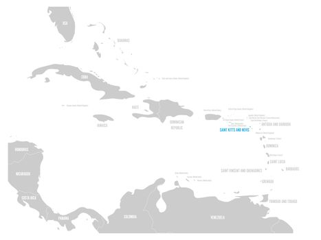 Saint Kitts and Nevis blue marked in the map of Caribbean. Vector illustration