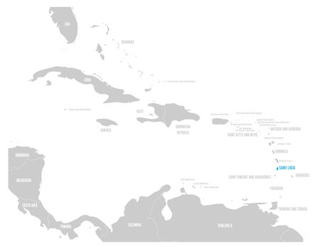 Bahamas blue marked in the map of Caribbean. Vector illustration