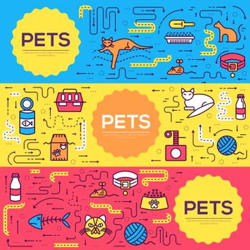 Animal vector brochure cards thin line set. Cute home pets template of flyear, magazines, posters, book cover, banners. Layout domestic wildlife  outline illustrations modern