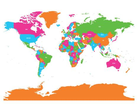 Colorful vector political map of World with country names and capital cities