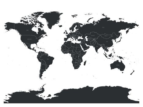 Vector political map of World with capital cities