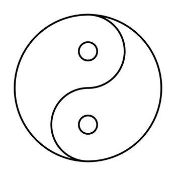 Yin Yang symbol black outline