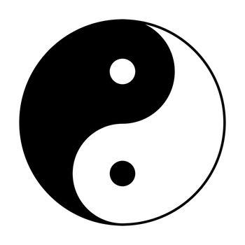 Yin Yang symbol in black and white