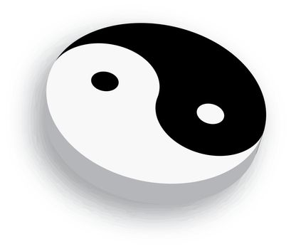 Yin Yang symbol icon in black and white. 3D vector object with dropped shadow on white background.