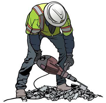 Builder Worker with Pneumatic Hammer
