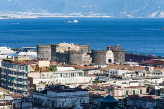 view of the roof of the city of Naples in Campania, Italy