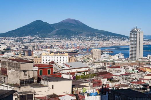 view of the city of Naples with famous Mount Vesuvius in the, Campania, Italy