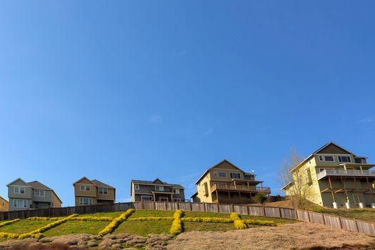 Single Family Homes on Hillside in Suburban Neighborhood