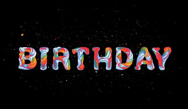 Colorful 3d text birhday Vector illustration on black background