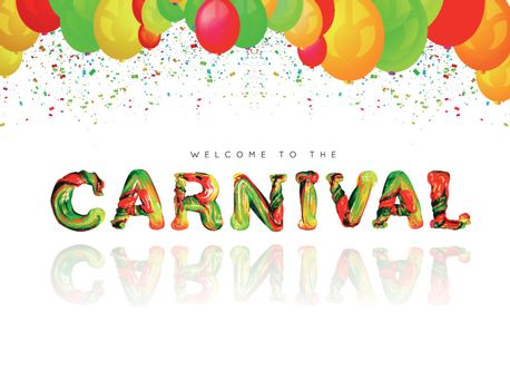 Colorful 3d text carnival. Vector illustration on white background