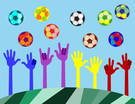 many hands of different colors. The fingers show the figures. At the top fly colored balls.