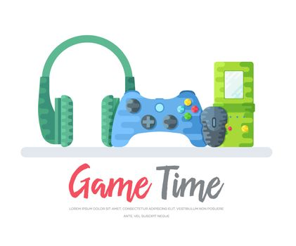 Headphones with gamepad and mouse with tetris toy over game time words. Layout modern vector background illustration design concept